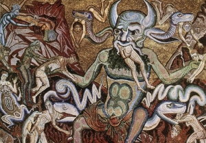 Mosaic on the vault (Detail of the Hell Scene), Baptistery, Florence.