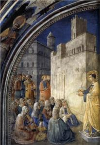 The Sermon of St. Stephen Fra Angelico, 1449 Cappella Niccolina, Palazzi Pontifici, Vatican