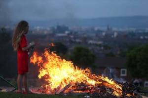 An Eleventh Night bonfire in the loyalist Highfield Estate in west Belfast. Picture by Kelvin Boyes / Press Eye.