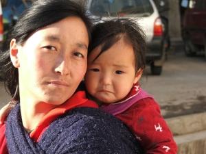 Bhutan woman and child