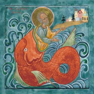 Icon of Jonah and the Whale Juliet Venter Metal Prints