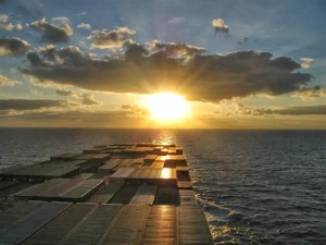 sunrise over deck