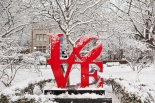 """Love"" Sculpture in the snow.  (Robert Indiana, artist)"