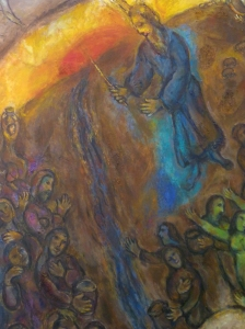 """""""Moses Striking the Rock and Bringing Forth the Water"""" Marc Chagall, 1887-1985 Musée du Message Biblique Marc-Chagall Nice, France"""