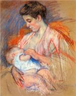 """Mother Jeanne Nursing Her Baby"" Mary Cassatt (1907-08)"