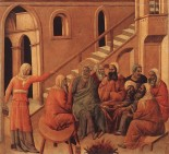 """Jesus before Annas, and Peter's first denial of Jesus""  DUCCIO di Buoninsegna (1308-11) Tempera on wood  Museo dell'Opera del Duomo, Siena"