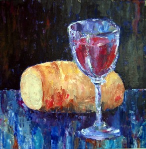 """""""Bread and Wine"""" by Norwegian painter Kjersti Timenes, 2003."""