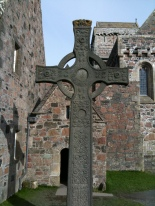 St John's High Cross outside Columba's chapel Iona, Scotland