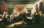 John Trumbull's famous painting is often identified as a depiction of the signing of the Declaration, but it actually shows the drafting committee presenting its work to the Congress.