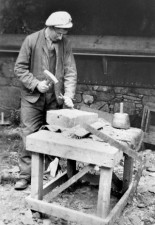 Mason Adam Campbell dressing stone for the rebuilding of Iona  Abbey (Raymond Bailey archive)