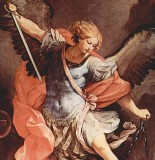 Archangel Michael Guido Reni, 1636 Santa Maria della Concezione, Rome _____  St. Michael the Archangel,  defend us in battle.  Be our defense against the wickedness and snares of the Devil.  May God rebuke him, we humbly pray,  and do thou,  O Prince of the heavenly hosts,  by the power of God,  thrust into hell Satan,  and all the evil spirits,  who prowl about the world  seeking the ruin of souls. Amen..