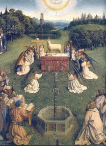 """Adoration of the Lamb Jan van Eyck painting """"Ghent Altarpiece"""", finished 1432"""
