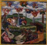 The Giving of the Seven Bowls of Wrath / The First Six Plagues Revelation 16:1-16  Matthias Gerung, c. 1531 Ottheinrich Bibel, Bayerische Staatsbibliothek
