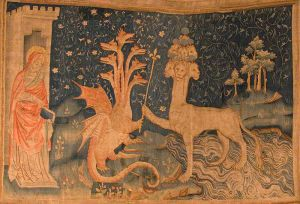 The Beast of the Sea  (Apocalypse Tapestry,  1377–1382) Musée de la Tapisserie, Château d'Angers, Angers