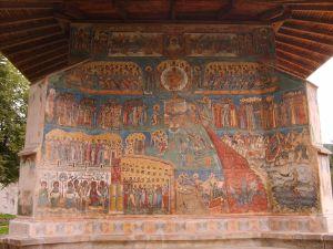 The Last Judgement, mural from Voroneţ Monastery, Romania.