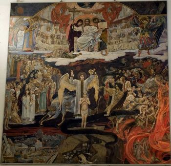 """""""The Last Judgement"""" by Viktor Vasnetsov 1904. Oil on canvas 690*700. Located in the Crystal Museum, St. George's Cathedral, Gus Khrustalny, Vladimir Region, Russia."""