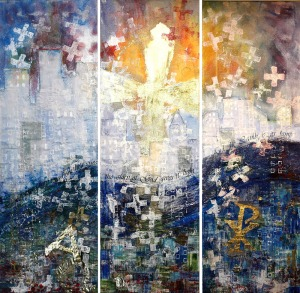 """In this mixed media textile by artist Karen Goetzinger, each element was chosen for its particular meaning and ties to Revelation 21. For instance, the layered organdy fabric making up the city skyline is a fabric often used in wedding dresses, evoking the description of the holy city, """"coming down out of heaven from God, prepared as a bride beautifully dressed for her husband"""" (21:2). The patchwork fabric at the base of the piece evokes the precious jewels decorating the New Jerusalem (21:19-20), and the gold leaf cross in the center illuminates the city, for """"the city does not need the sun or the moon to shine on it, for the glory of God gives it light, and the Lamb is its lamp"""" (21:23). Karen Goetzinger, Revelation 21. Mixed Media Textile. Collection of Martin Luther College, New Ulm, Minnesota. © Karen Goetzinger, www.karengoetzinger.com."""