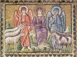 The Parable of the Good Shepherd Separating the Sheep from the Goats, Scenes from the Life of Christ. (Mosaic) Sant'Apollinare Nuovo, Ravenna, Italy