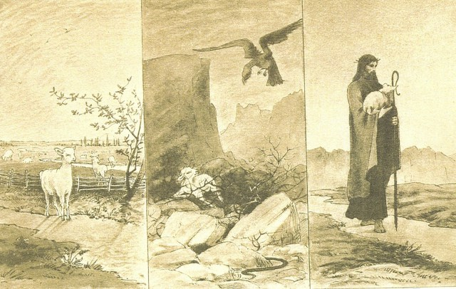 The triptych of the Parable of the Lost Sheep was drawn by Lilias during her early years in North Africa.  She captures, in three frames, a sequence which illuminates the story of the straying lamb from start to finish.