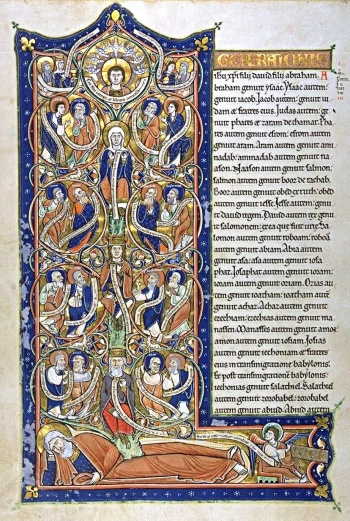 """The genealogy in Matthew was traditionally illustrated by a """"Tree of Jesse"""" showing the descent of Jesus from Jesse, father of King David"""