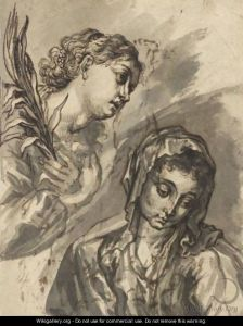 """""""Head And Shoulders Of The Virgin Mary, With The Angel Gabriel Descending To The Left""""  Joachim Von, I Sandrart"""