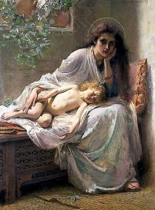 Alice Havers (1850-1890): Mary pondered all these things in her heart, 1888.