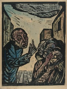 Jonah Preaches in Nineveh Jakob Steinhardt, 1923 hand-colored woodcut/Image courtesy of the Israel Museum