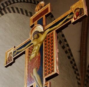 Crucifix Cimabue c 1268-71. Basilica di Santa Croce, Florence.