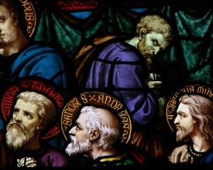 Stained glass window depicting Judas Iscariot turning away from the Last Supper, Moulins Cathedral, France.