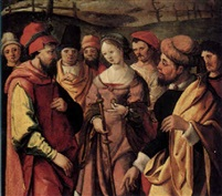 Susanna captured after her Accusation by the Elders Dutch School-Leiden, 1530
