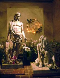 Jesus with Mary Magdalene Sculpture by Bruce Wolfe Mission Santa Barbara