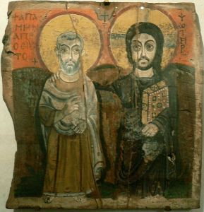 """Christ and Abbot Mena"" The oldest known Coptic icon was found in Bawit in Middle Egypt in 1900 by the French archaeologist Jean Clédat (1871 – 1943) who discovered the large Coptic Monastery of St. Apollo that once stood there. It was gifted by the Egyptian government to France as part of the policy of dividing archaeological finds in 1901-1902, and is kept at the Louvre Museum in Paris."