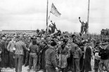The Dachau concentration camp pictured above on the day it was liberated by American forces.