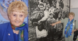 Eva Mozes Kor, at right, points to a photograph of herself taken during the liberation of the Auschwitz Concentration Camp on January 27, 1945, by the advancing Soviet army. Photo provided by Ms. Mozes Kor.