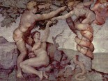 Michelangelo's painting of the sin of Adam and Eve from the Sistine Chapel ceiling