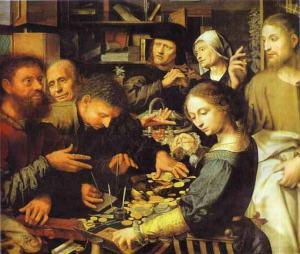 Jesus summons Matthew to leave the tax office Jan Sanders van Hemessen, 1536 Alte Pinakothek, Munich