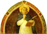 Peter Martyr Enjoins Silence.  Fra Angelico. c.1441 Fresco inside a monk's cell, Museo di San Marco, Florence, Italy.