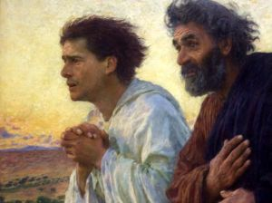 """The Disciples Peter and John Running to the Sepulchre on the Morning of the Resurrection"" by Eugene Burnand Musee d'Orsay, Paris"