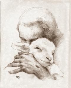 Jesus and the Lamb art print by Katherine Brown