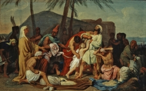 """""""Joseph's servant finds the silver cup in Benjamin's sack."""" Aleksandr Andreyevich Ivanov, 1833."""