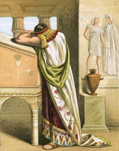 LLM339412 Joseph weeping after having seen Benjamin by English School, (20th century); Private Collection; (add.info.: Joseph weeping after having seen Benjamin. The Bible Picture Book (Thomas Nelson and Sons, c 1870).); © Look and Learn; English, out of copyright