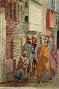 St Peter Healing the Sick with his Shadow 1426-27 Cappella Brancacci, Santa Maria del Carmine, Florence