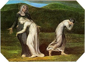 Naomi entreating Ruth and Orpah to return to the land of Moab by William Blake, 1795