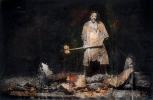 """Altars by Night"" (Gideon Destroys His Father's Altar to Ba'al) by Kevin Rolly"