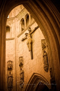 A large crucifix hangs on the inside wall of a beautiful church in France, Jimmy Williams