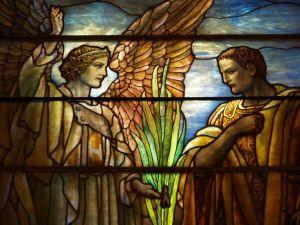 Angel visits Cornelius Tiffany window