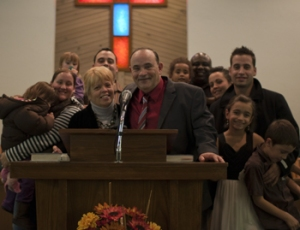 Pastor Fred Ferreira with Family at Ordination Third Baptist Church, Fall River, MA