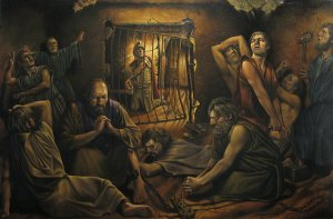 Paul and Silas Praying in Prison by Frank Murphy