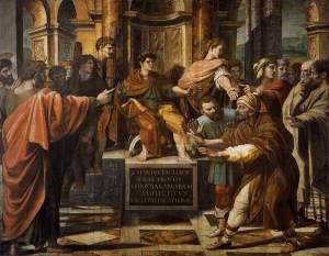Elymas the Sorcerer is struck blind before Sergius Paulus Raphae, 1515 Victoria and Albert Museum, London