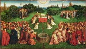 The Ghent altarpiece: Adoration of the Lamb Jan van Eyck, 1432 Saint Bavo Cathedral, Ghent Belgium